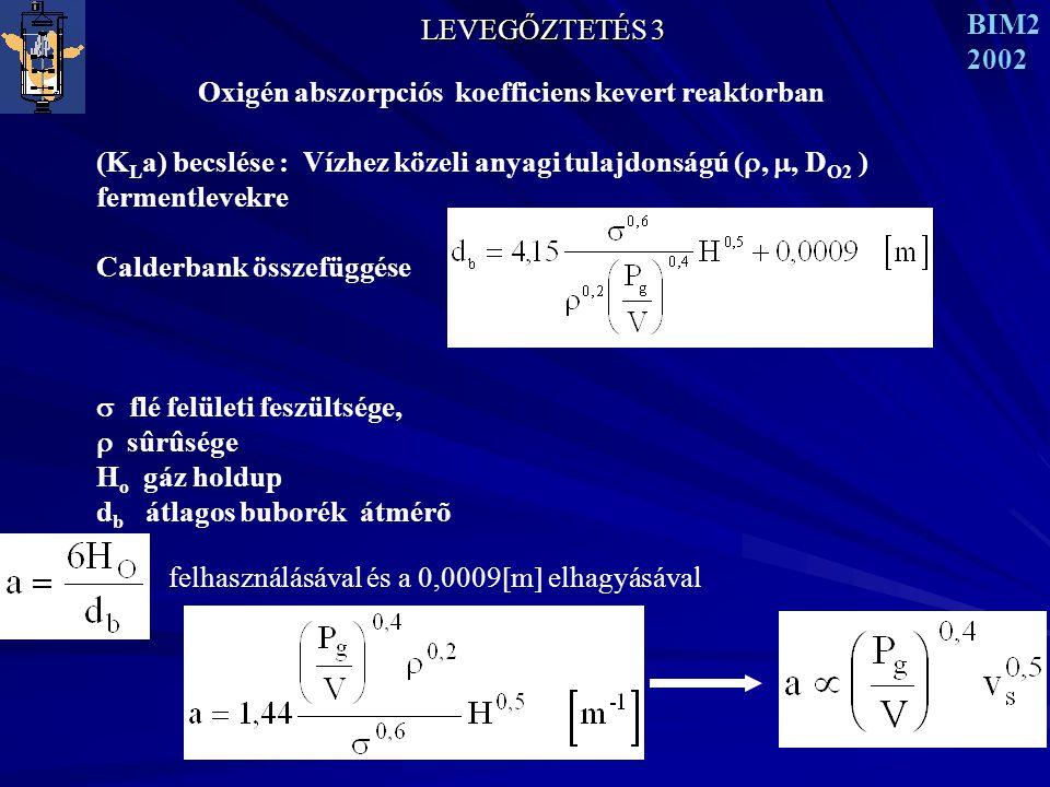LEVEGŐZTETÉS 3 BIM2 2002 Oxigén abszorpciós koefficiens kevert reaktorban (K L a) becslése : Vízhez közeli anyagi tulajdonságú ( , , D O2 ) fermentlevekre Calderbank összefüggése  flé felületi feszültsége,  sûrûsége H o gáz holdup d b átlagos buborék átmérõ felhasználásával és a 0,0009  m  elhagyásával