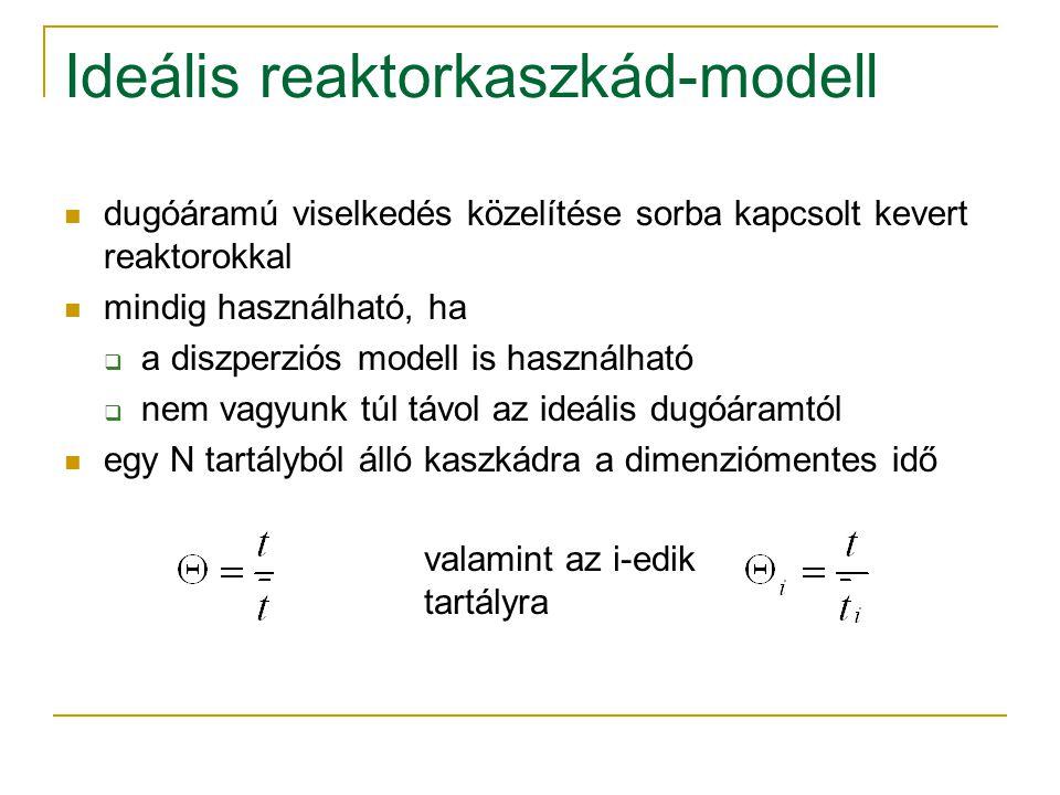 Ideális reaktorkaszkád-modell dugóáramú viselkedés közelítése sorba kapcsolt kevert reaktorokkal mindig használható, ha  a diszperziós modell is hasz