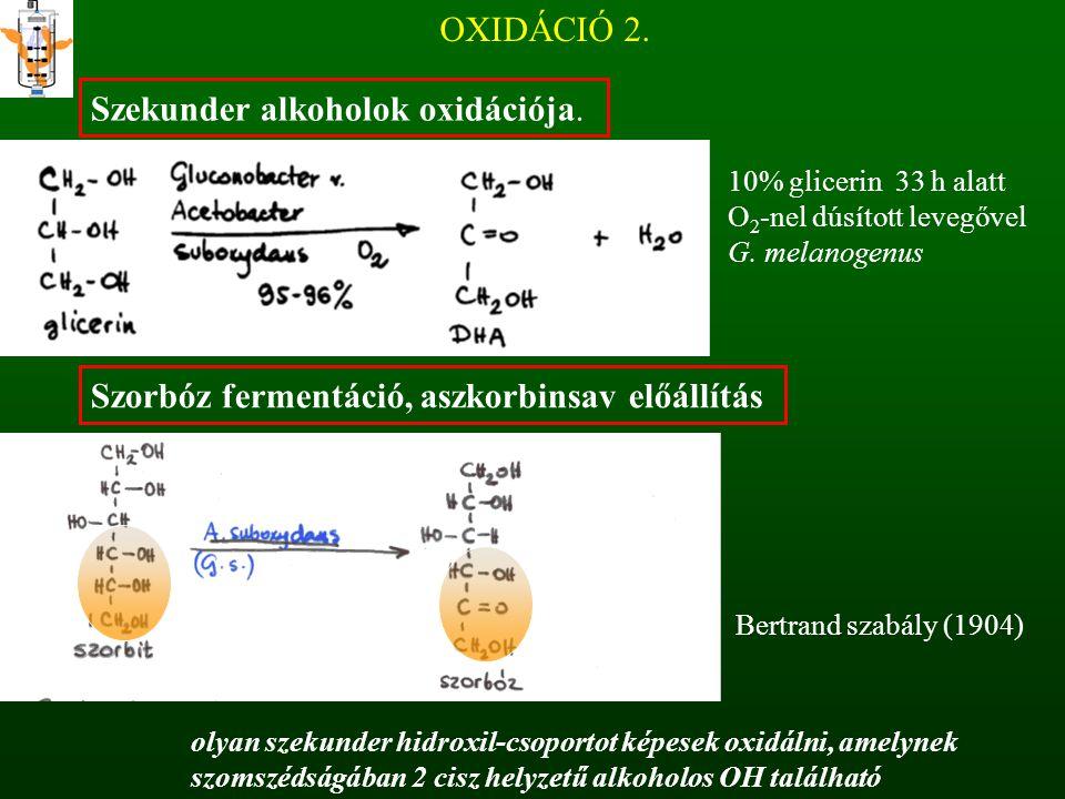 OXIDÁCIÓ 2. Szekunder alkoholok oxidációja. 10% glicerin 33 h alatt O 2 -nel dúsított levegővel G. melanogenus Szorbóz fermentáció, aszkorbinsav előál