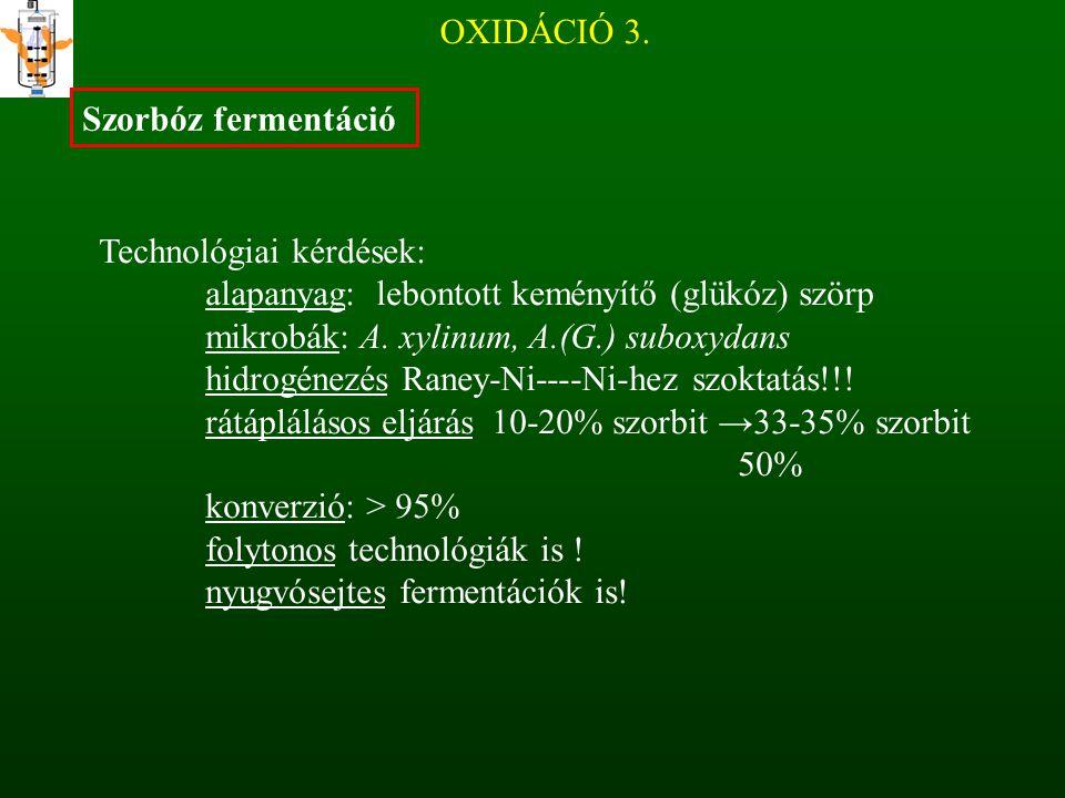 OXIDÁCIÓ 3. Szorbóz fermentáció Technológiai kérdések: alapanyag: lebontott keményítő (glükóz) szörp mikrobák: A. xylinum, A.(G.) suboxydans hidrogéne