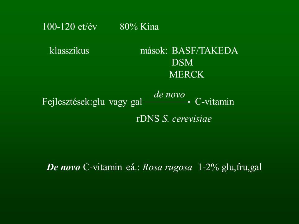 De novo C-vitamin eá.: Rosa rugosa 1-2% glu,fru,gal 100-120 et/év 80% Kína klasszikus mások: BASF/TAKEDA DSM MERCK Fejlesztések:glu vagy gal C-vitamin