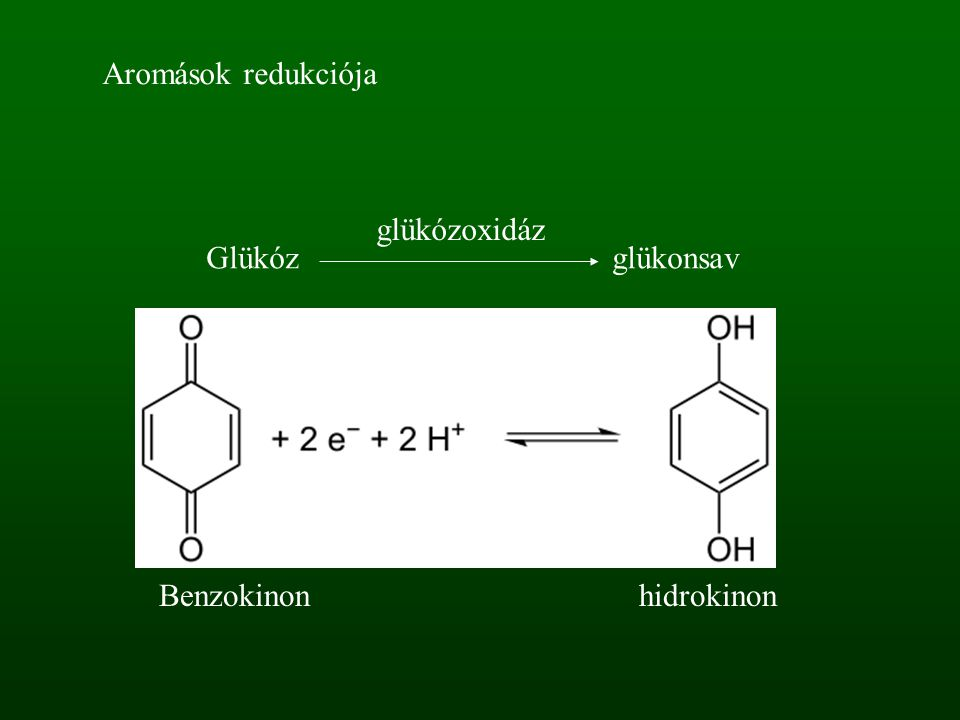 Benzokinonhidrokinon Glükóz glükonsav glükózoxidáz Aromások redukciója