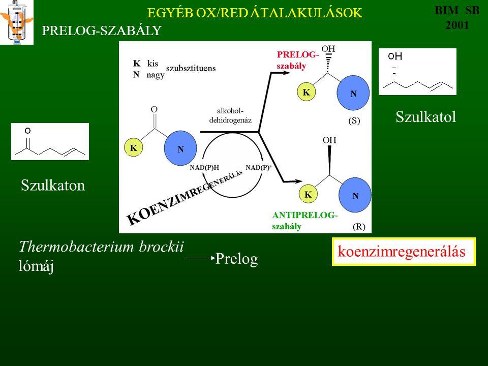 EGYÉB OX/RED ÁTALAKULÁSOK BIM SB 2001 Szulkaton Szulkatol PRELOG-SZABÁLY Thermobacterium brockii lómáj Prelog koenzimregenerálás