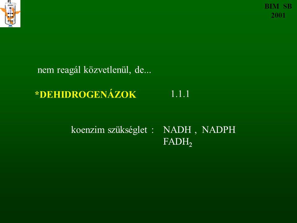 *DEHIDROGENÁZOK koenzim szükséglet :NADH, NADPH FADH 2 nem reagál közvetlenül, de... BIM SB 2001 1.1.1