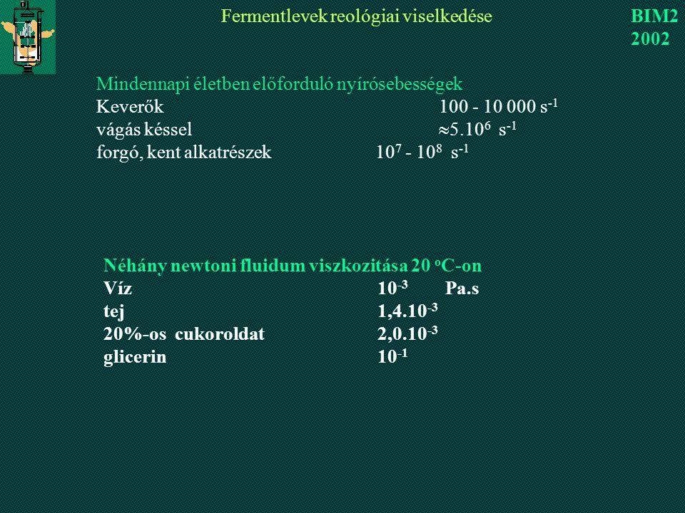 Fermentlevek reológiai viselkedése BIM2 2002 Mindennapi életben előforduló nyírósebességek Keverők 100 - 10 000 s -1 vágás késsel  5.10 6 s -1 forgó, kent alkatrészek 10 7 - 10 8 s -1 Néhány newtoni fluidum viszkozitása 20 o C-on Víz10 -3 Pa.s tej1,4.10 -3 20%-os cukoroldat2,0.10 -3 glicerin10 -1