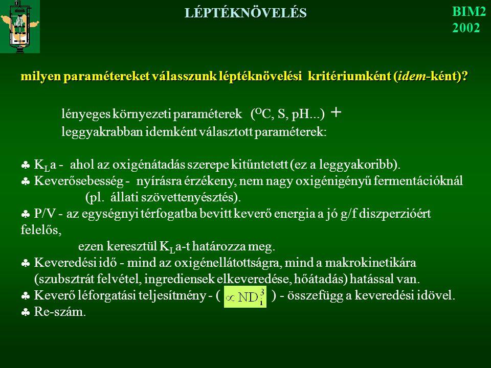 LÉPTÉKNÖVELÉS BIM2 2002 milyen paramétereket válasszunk léptéknövelési kritériumként (idem-ként)? lényeges környezeti paraméterek ( O C, S, pH...) + l
