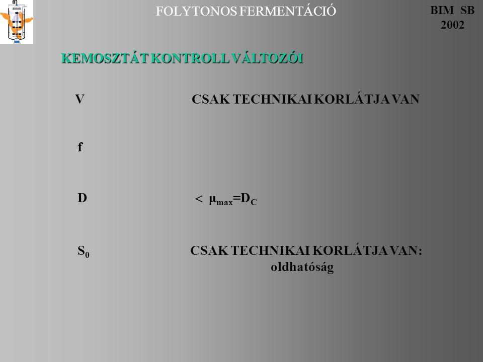 FOLYTONOS FERMENTÁCIÓ BIM SB 2002 Kemosztát tervezése 1.Szakaszos kinetika ismeretében: μ max, Y, K S D 2.Szakaszos növekedési görbe (és deriváltja) ismeretében dx/dt tg  =  max  x dx/dt tg  =  max  x A B Választunk D-t, mi az elmenő.