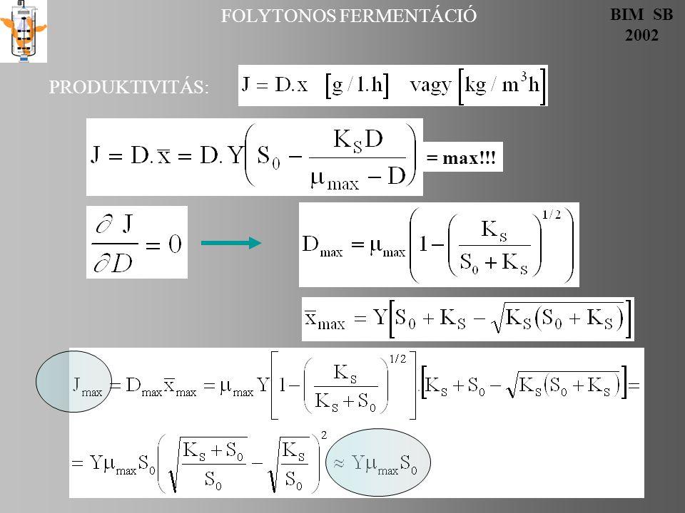 FOLYTONOS FERMENTÁCIÓ dx/dt tgα=μ max  x dx/dt tgα=μ max α x A B Választunk D-t, mi az elmenő.