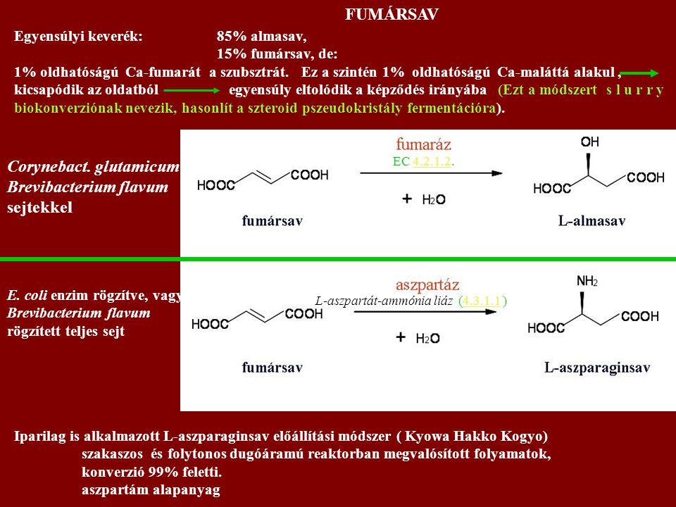 Iparilag is alkalmazott L-aszparaginsav előállítási módszer ( Kyowa Hakko Kogyo) szakaszos és folytonos dugóáramú reaktorban megvalósított folyamatok, konverzió 99% feletti.