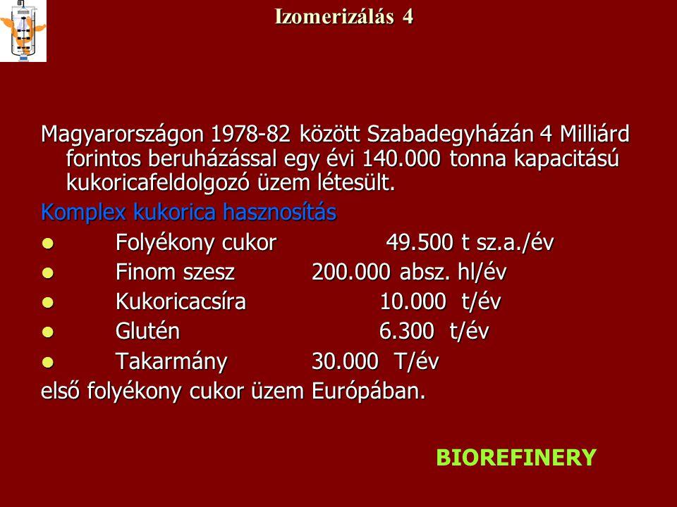 Izomerizálás 4 Magyarországon 1978-82 között Szabadegyházán 4 Milliárd forintos beruházással egy évi 140.000 tonna kapacitású kukoricafeldolgozó üzem létesült.