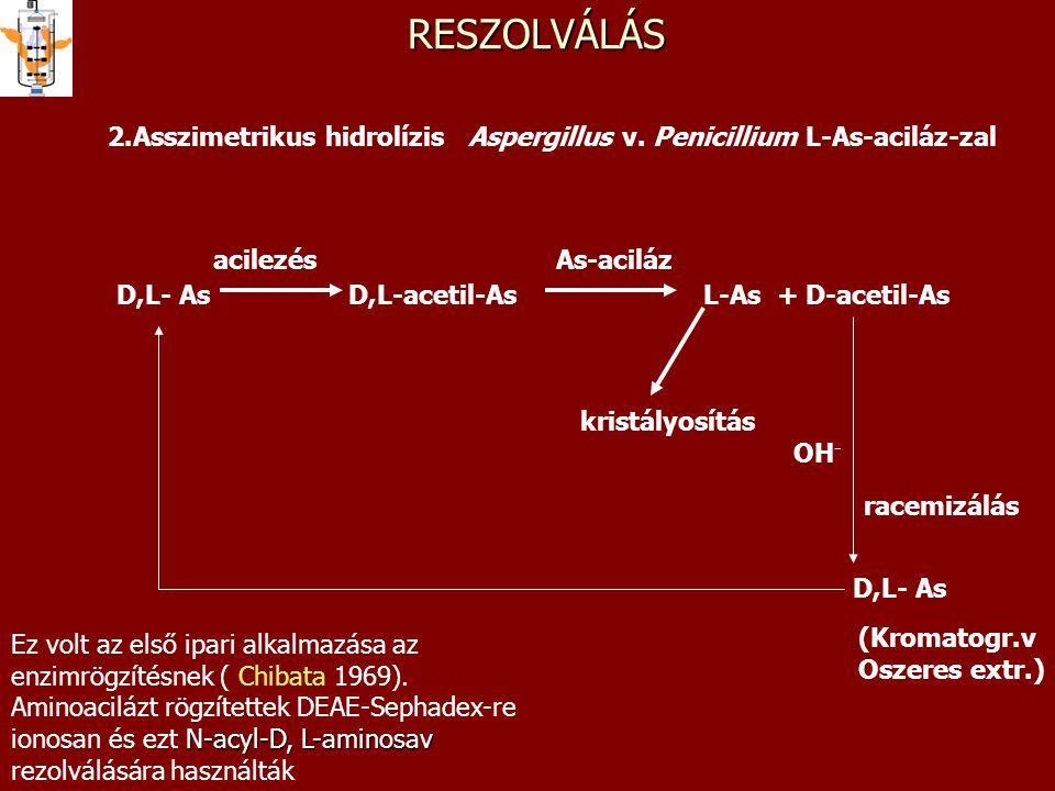 D,L- As D,L-acetil-As L-As + D-acetil-AsRESZOLVÁLÁS 2.Asszimetrikus hidrolízis Aspergillus v. Penicillium L-As-aciláz-zal As-acilázacilezés kristályos