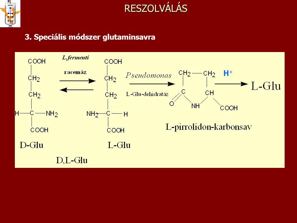 RESZOLVÁLÁS 3. Speciális módszer glutaminsavra H+H+