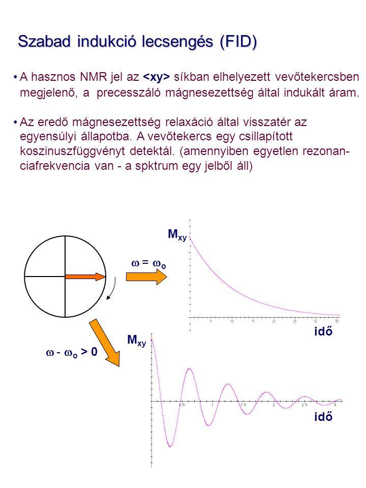 Szabad indukció lecsengés (FID) Szabad indukció lecsengés (FID) A hasznos NMR jel az síkban elhelyezett vevőtekercsben megjelenő, a precesszáló mágnesezettség által indukált áram.