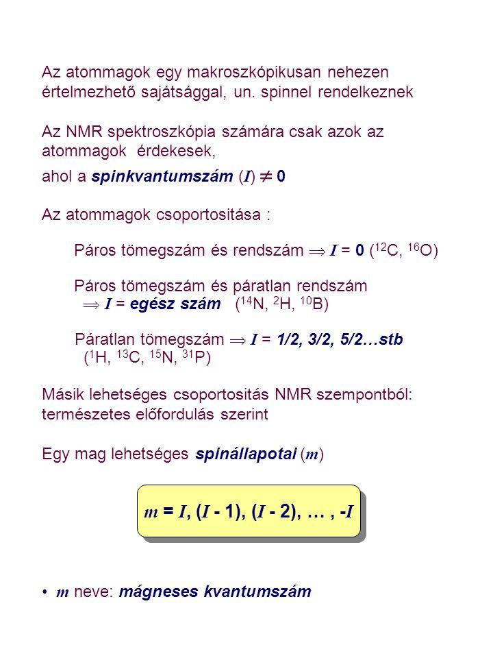 A legfontosabb (és általunk tárgyalt ) magok ( 1 H, 13 C, 15 N, 31 P) esetén I = 1 / 2, tehát Ennek eredményeképpen csak két energiaszintet kell figyelembe vennünk Az atommagok további fontos paramétere az un.