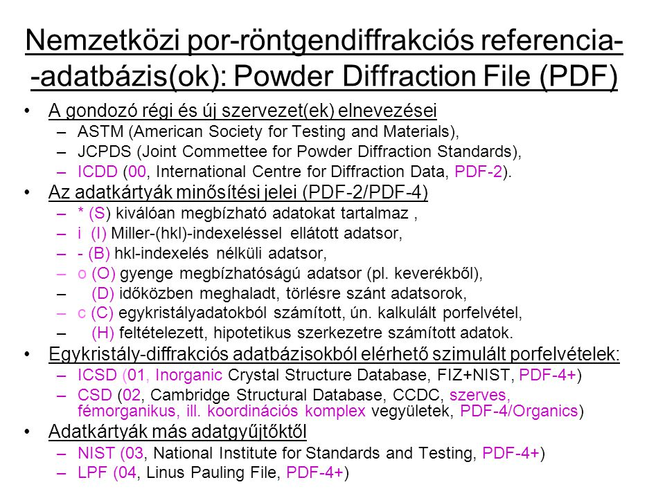 A gondozó régi és új szervezet(ek) elnevezései –ASTM (American Society for Testing and Materials), –JCPDS (Joint Commettee for Powder Diffraction Standards), –ICDD (00, International Centre for Diffraction Data, PDF-2).