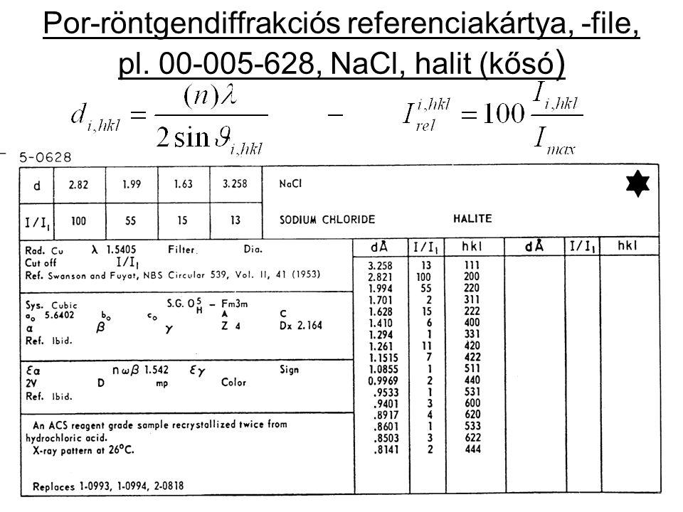 Por-röntgendiffrakciós referenciakártya, -file, pl. 00-005-628, NaCl, halit (kősó )