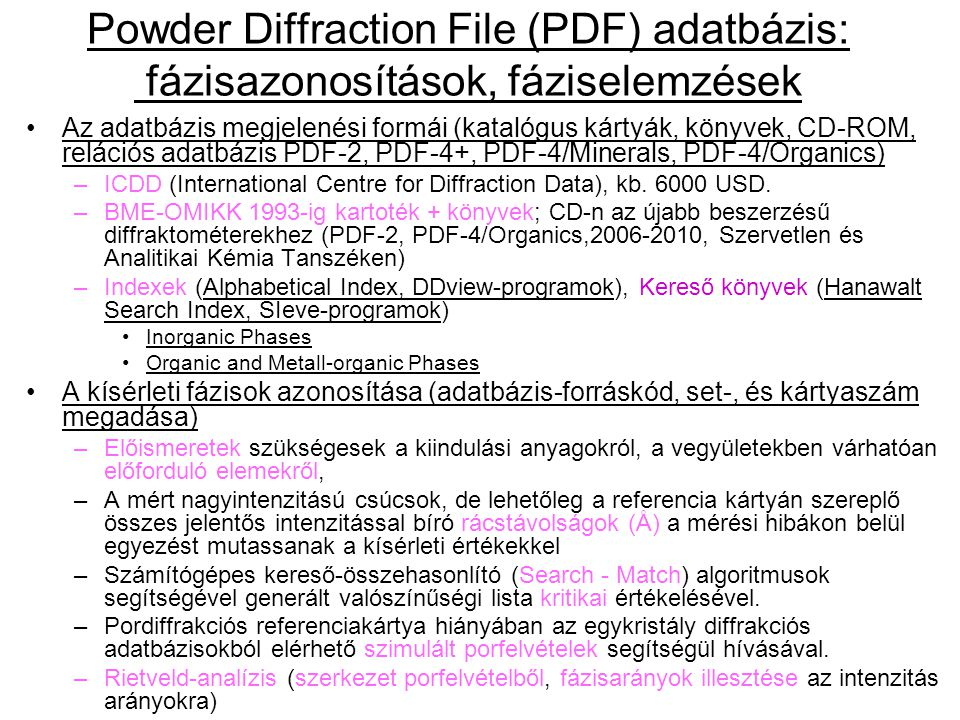 Az adatbázis megjelenési formái (katalógus kártyák, könyvek, CD-ROM, relációs adatbázis PDF-2, PDF-4+, PDF-4/Minerals, PDF-4/Organics) –ICDD (International Centre for Diffraction Data), kb.
