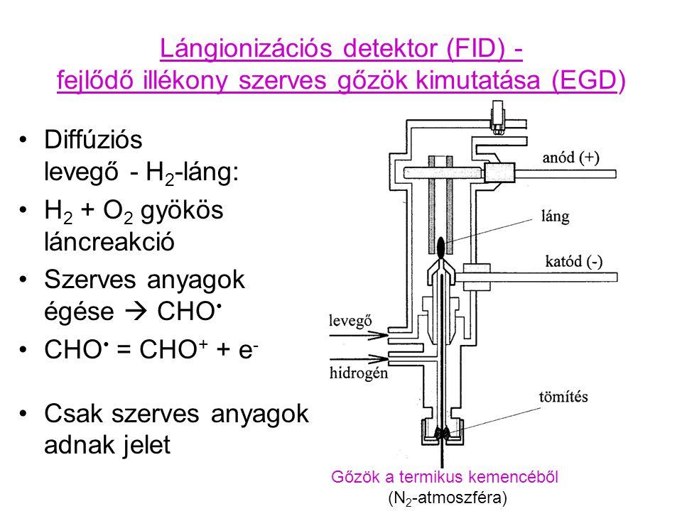 Lángionizációs detektor (FID) - fejlődő illékony szerves gőzök kimutatása (EGD) Diffúziós levegő - H 2 -láng: H 2 + O 2 gyökös láncreakció Szerves anyagok égése  CHO CHO = CHO + + e - Csak szerves anyagok adnak jelet Gőzök a termikus kemencéből (N 2 -atmoszféra)