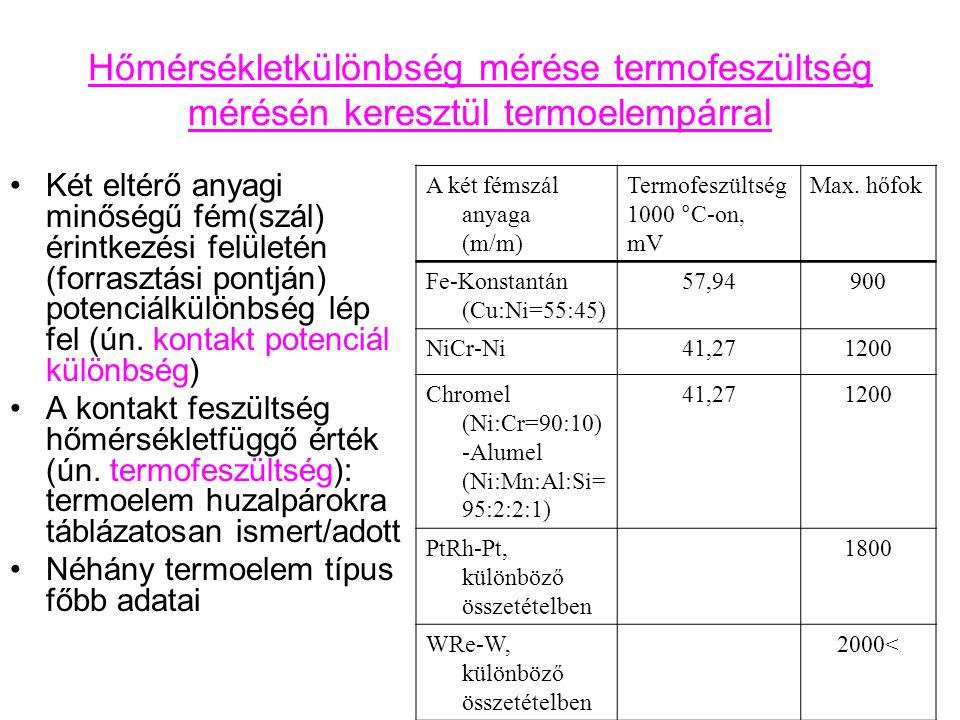 Hőmérsékletkülönbség mérése termofeszültség mérésén keresztül termoelempárral Két eltérő anyagi minőségű fém(szál) érintkezési felületén (forrasztási pontján) potenciálkülönbség lép fel (ún.