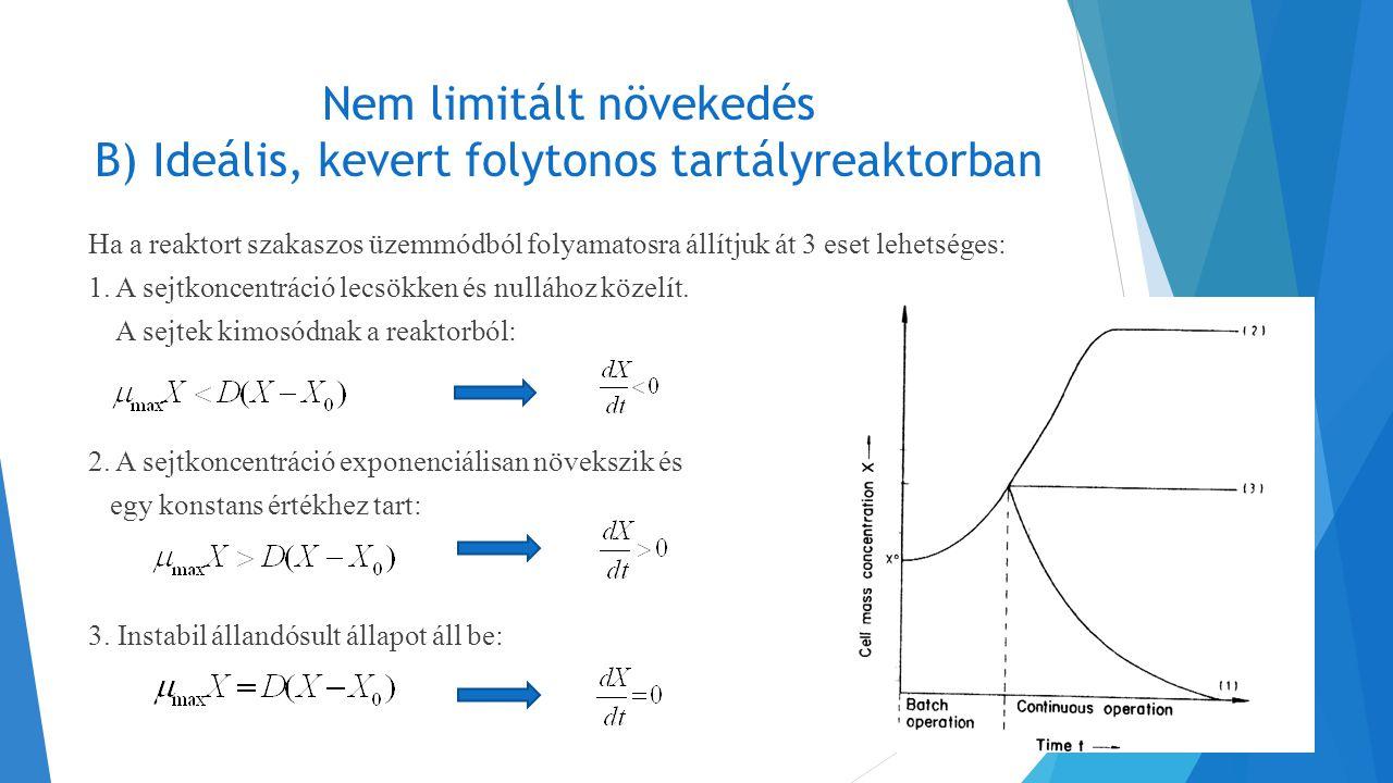 Nem limitált növekedés B) Ideális, kevert folytonos tartályreaktorban Ha a reaktort szakaszos üzemmódból folyamatosra állítjuk át 3 eset lehetséges: 1