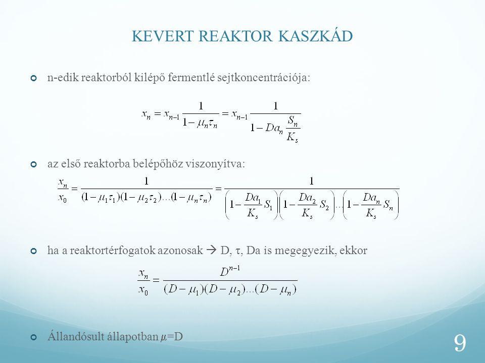 KEVERT REAKTOR KASZKÁD n-edik reaktorból kilépő fermentlé sejtkoncentrációja: az első reaktorba belépőhöz viszonyítva: ha a reaktortérfogatok azonosak