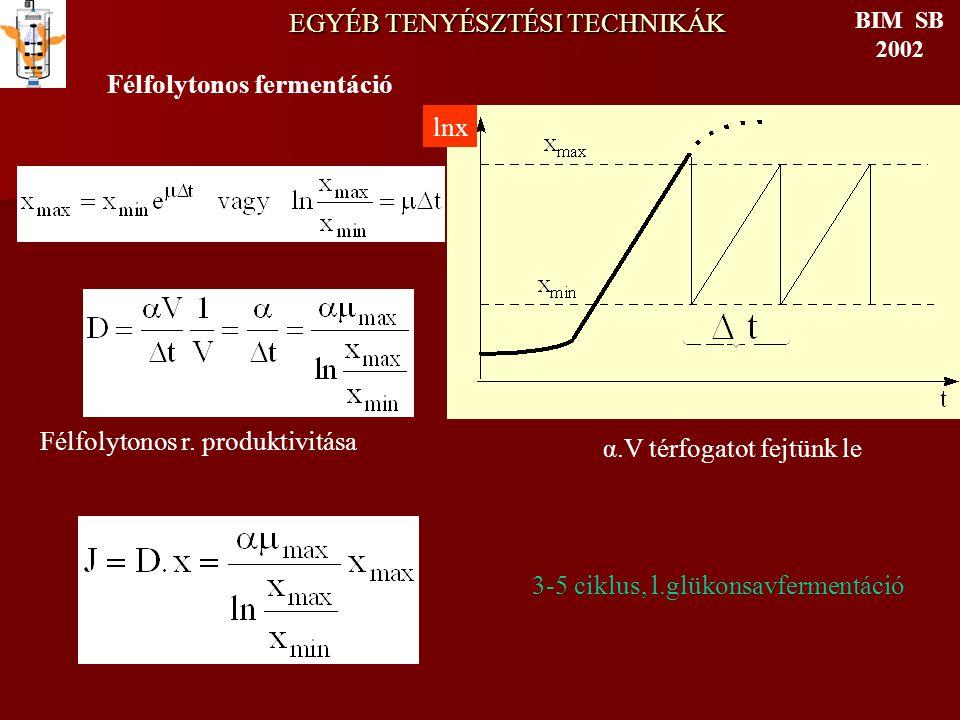 EGYÉB TENYÉSZTÉSI TECHNIKÁK BIM SB 2002 Félfolytonos fermentáció α.V térfogatot fejtünk le Félfolytonos r. produktivitása 3-5 ciklus, l.glükonsavferme