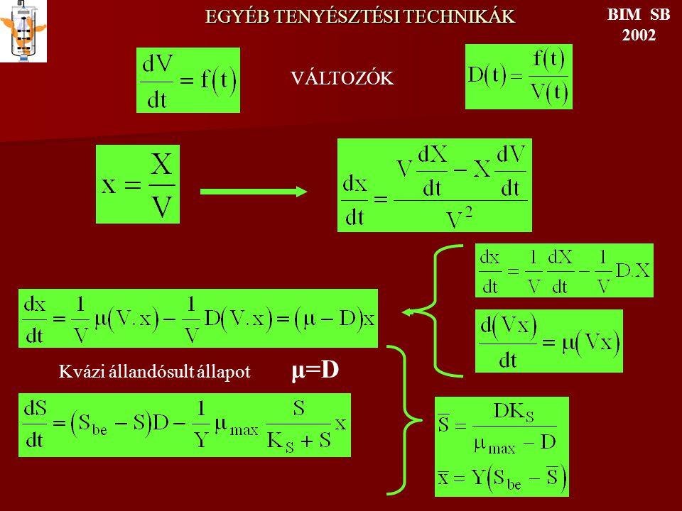 EGYÉB TENYÉSZTÉSI TECHNIKÁK BIM SB 2002 VÁLTOZÓK Kvázi állandósult állapot μ=D