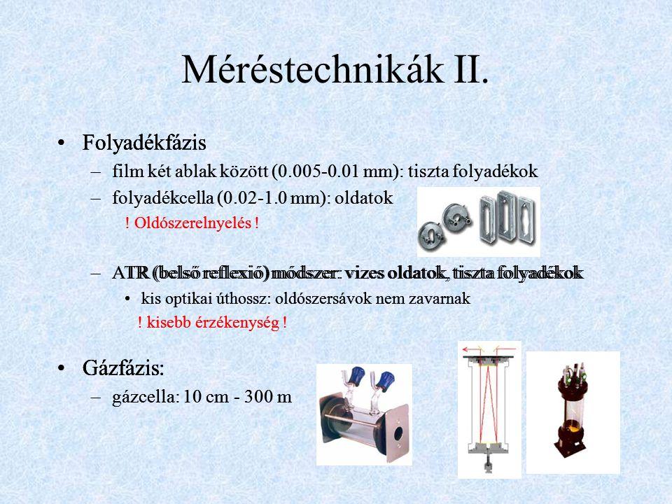 Méréstechnikák II. Folyadékfázis –film két ablak között (0.005-0.01 mm): tiszta folyadékok –folyadékcella (0.02-1.0 mm): oldatok ! Oldószerelnyelés !