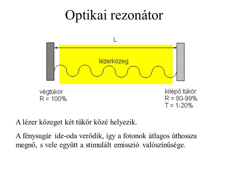 Optikai rezonátor A lézer közeget két tükör közé helyezik. A fénysugár ide-oda verődik, így a fotonok átlagos úthossza megnő, s vele együtt a stimulál