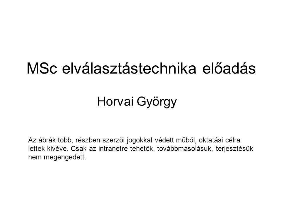 MSc elválasztástechnika előadás Horvai György Az ábrák több, részben szerzői jogokkal védett műből, oktatási célra lettek kivéve. Csak az intranetre t