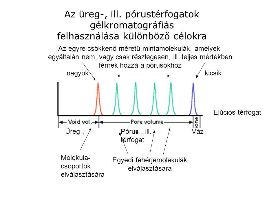 Az üreg-, ill. pórustérfogatok gélkromatográfiás felhasználása különböző célokra Az egyre csökkenő méretű mintamolekulák, amelyek egyáltalán nem, vagy