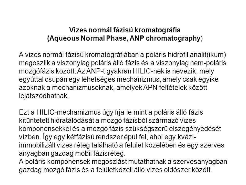 Vizes normál fázisú kromatográfia (Aqueous Normal Phase, ANP chromatography) A vizes normál fázisú kromatográfiában a poláris hidrofil analit(ikum) me