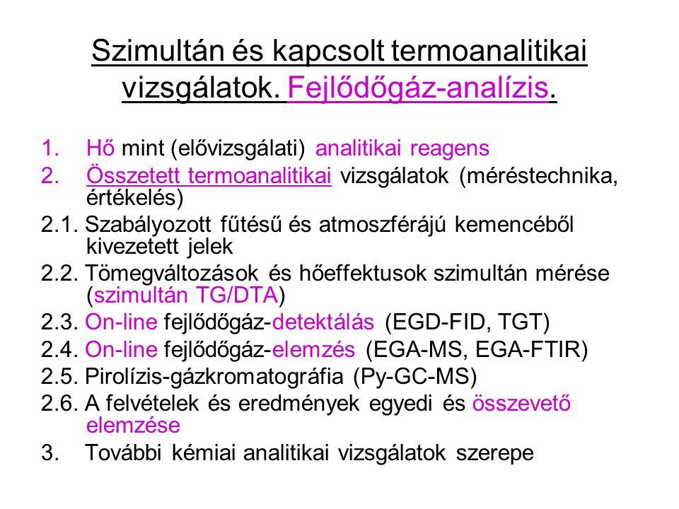 Szimultán és kapcsolt termoanalitikai vizsgálatok. Fejlődőgáz-analízis. 1.Hő mint (elővizsgálati) analitikai reagens 2.Összetett termoanalitikai vizsg