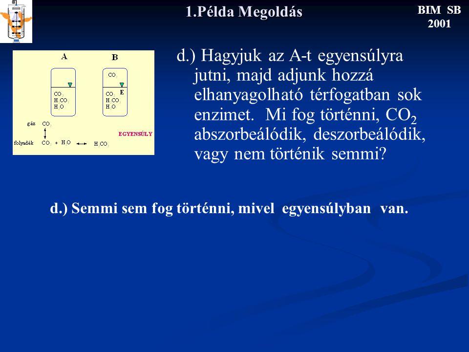 1.Példa Megoldás d.) Hagyjuk az A-t egyensúlyra jutni, majd adjunk hozzá elhanyagolható térfogatban sok enzimet.