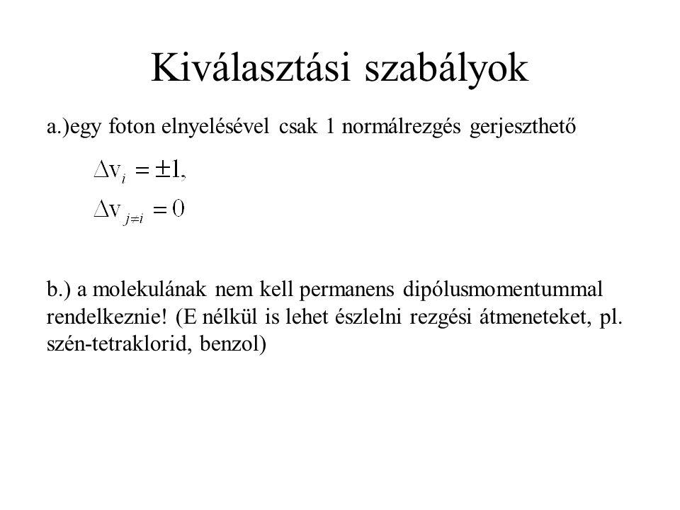 Kiválasztási szabályok a.)egy foton elnyelésével csak 1 normálrezgés gerjeszthető b.) a molekulának nem kell permanens dipólusmomentummal rendelkeznie.