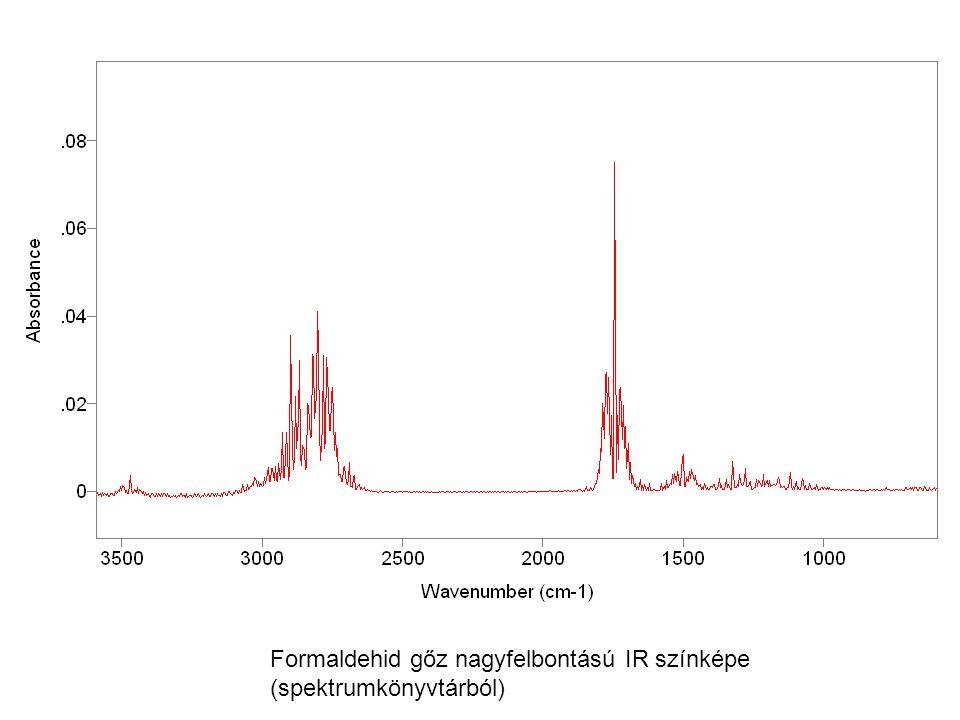 Formaldehid gőz nagyfelbontású IR színképe (spektrumkönyvtárból)