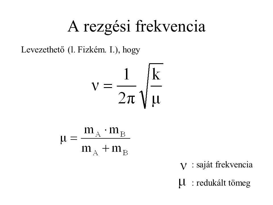 A rezgési frekvencia : saját frekvencia : redukált tömeg Levezethető (l. Fizkém. I.), hogy