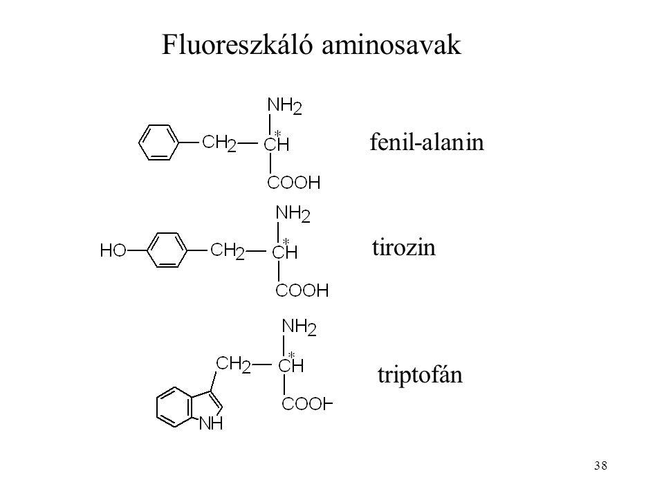 38 Fluoreszkáló aminosavak fenil-alanin tirozin triptofán
