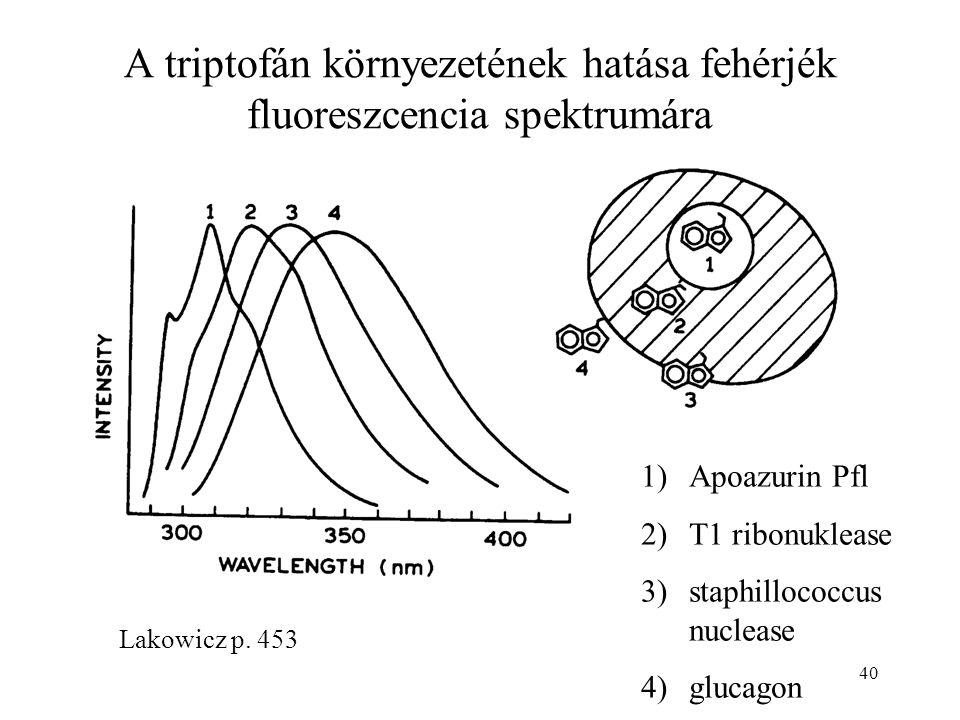40 Lakowicz p. 453 A triptofán környezetének hatása fehérjék fluoreszcencia spektrumára 1)Apoazurin Pfl 2)T1 ribonuklease 3)staphillococcus nuclease 4