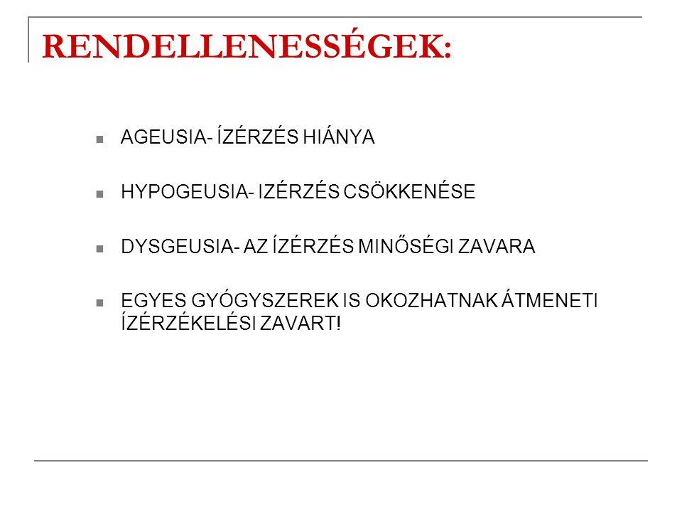RENDELLENESSÉGEK: AGEUSIA- ÍZÉRZÉS HIÁNYA HYPOGEUSIA- IZÉRZÉS CSÖKKENÉSE DYSGEUSIA- AZ ÍZÉRZÉS MINŐSÉGI ZAVARA EGYES GYÓGYSZEREK IS OKOZHATNAK ÁTMENET
