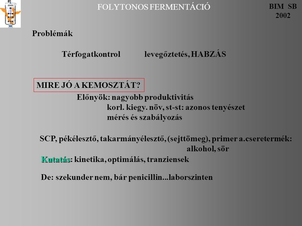 FOLYTONOS FERMENTÁCIÓ BIM SB 2002 Problémák Térfogatkontrol levegőztetés, HABZÁS MIRE JÓ A KEMOSZTÁT.