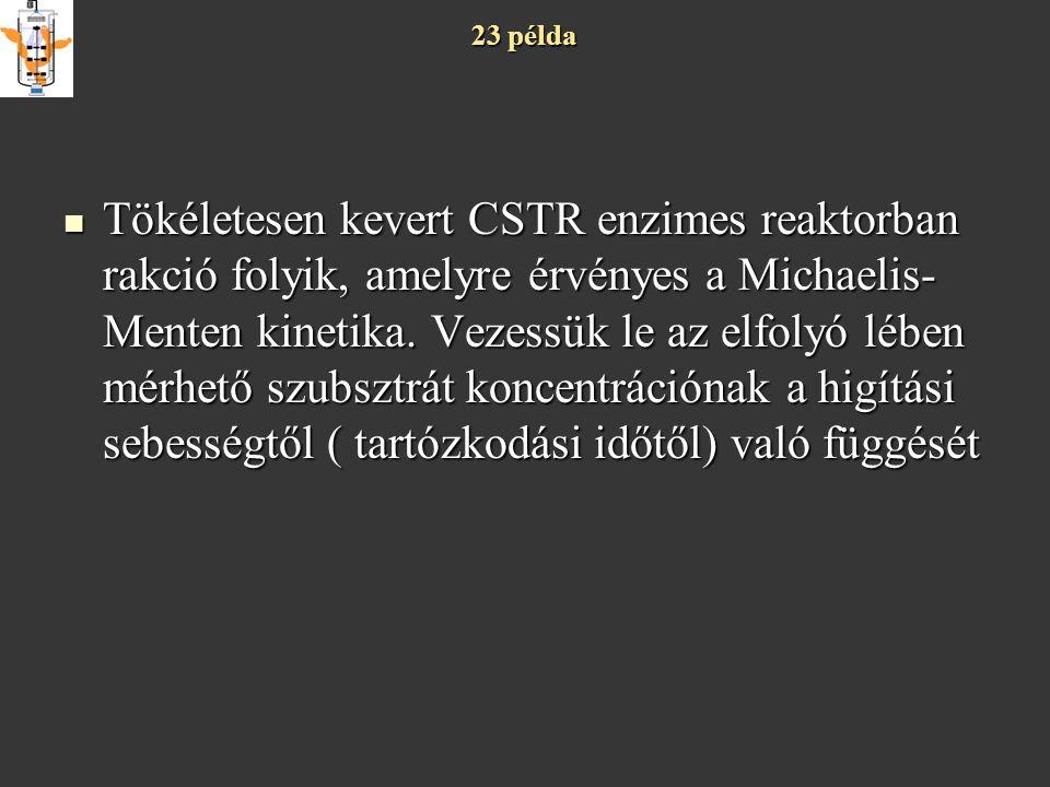 23 példa Tökéletesen kevert CSTR enzimes reaktorban rakció folyik, amelyre érvényes a Michaelis- Menten kinetika. Vezessük le az elfolyó lében mérhető
