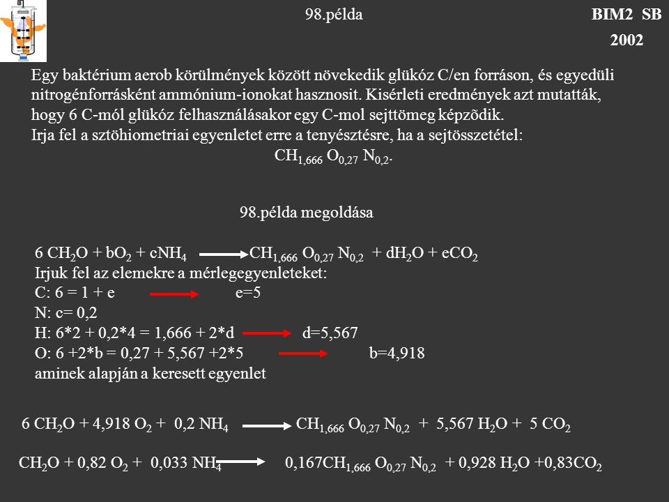 BIM2 SB 2002 98.példa Egy baktérium aerob körülmények között növekedik glükóz C/en forráson, és egyedüli nitrogénforrásként ammónium-ionokat hasznosit.