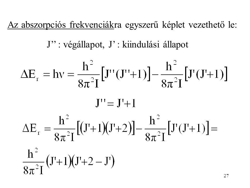 27 J'' : végállapot, J' : kiindulási állapot Az abszorpciós frekvenciákra egyszerű képlet vezethető le:
