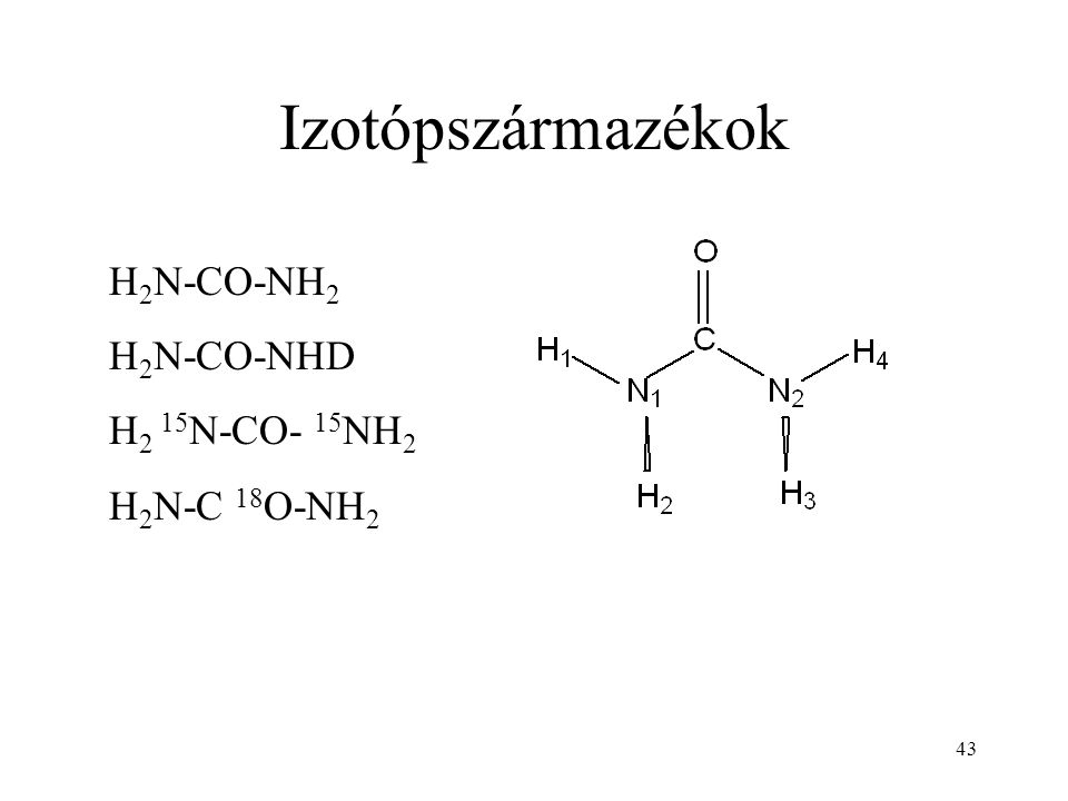 43 Izotópszármazékok H 2 N-CO-NH 2 H 2 N-CO-NHD H 2 15 N-CO- 15 NH 2 H 2 N-C 18 O-NH 2