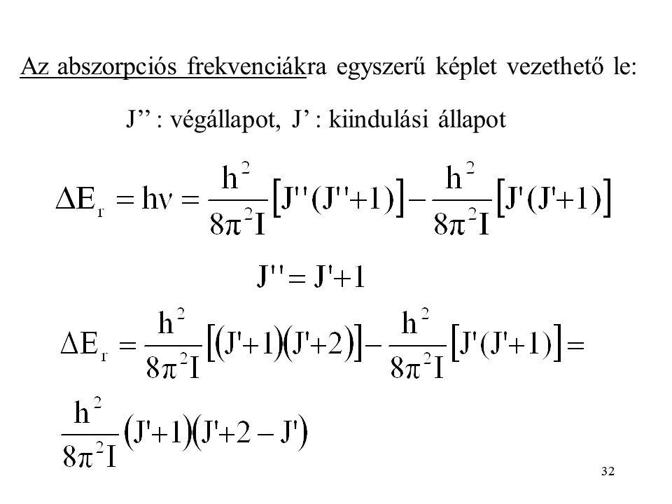 32 J'' : végállapot, J' : kiindulási állapot Az abszorpciós frekvenciákra egyszerű képlet vezethető le: