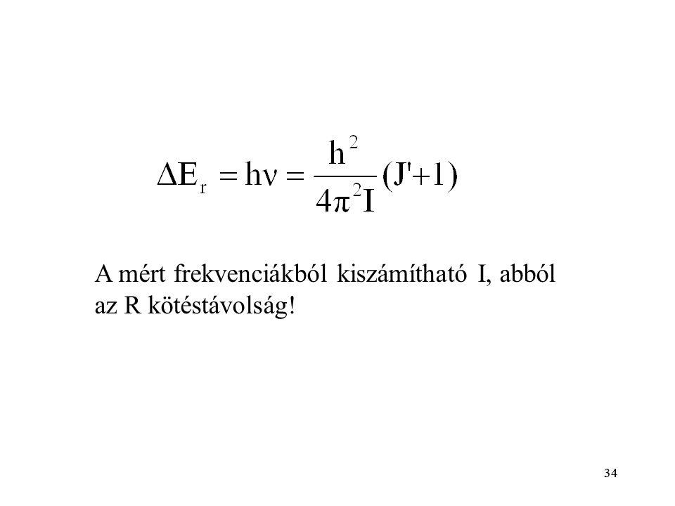 34 A mért frekvenciákból kiszámítható I, abból az R kötéstávolság!