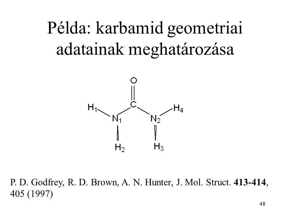 48 Példa: karbamid geometriai adatainak meghatározása P. D. Godfrey, R. D. Brown, A. N. Hunter, J. Mol. Struct. 413-414, 405 (1997)
