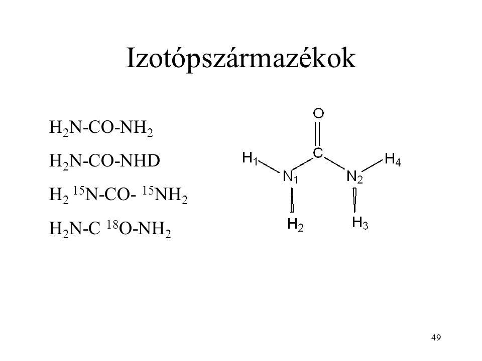49 Izotópszármazékok H 2 N-CO-NH 2 H 2 N-CO-NHD H 2 15 N-CO- 15 NH 2 H 2 N-C 18 O-NH 2