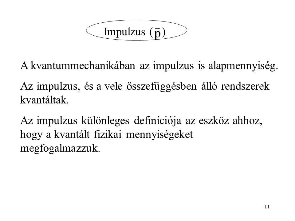 Impulzus ( ) A kvantummechanikában az impulzus is alapmennyiség.